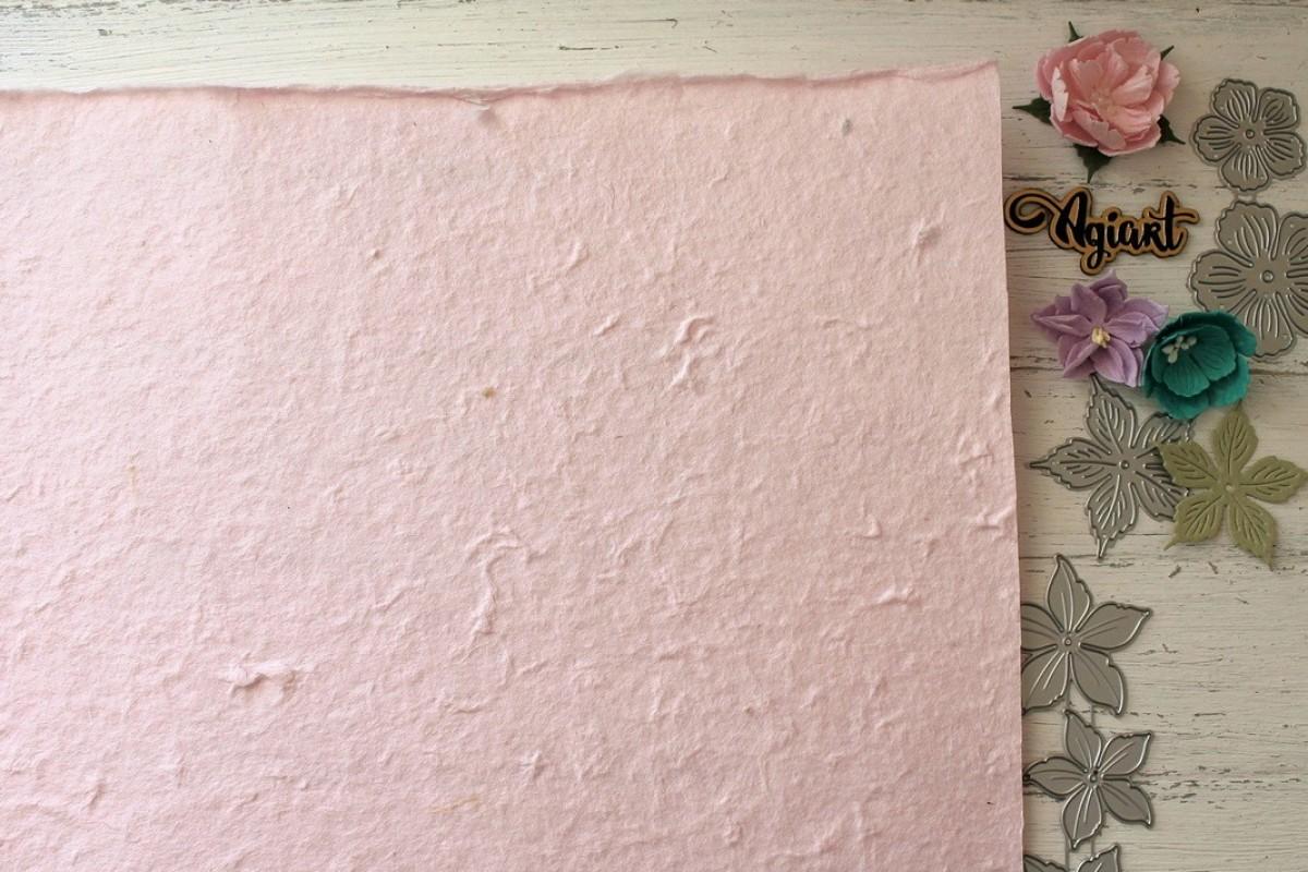 "Тутовая бумага (Mulberry) цвет ""Нежно-розовый"", 27*39 см."