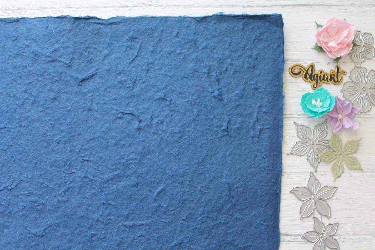 """Тутовая бумага (Mulberry) цвет """"Синий"""", 27*39 см."""