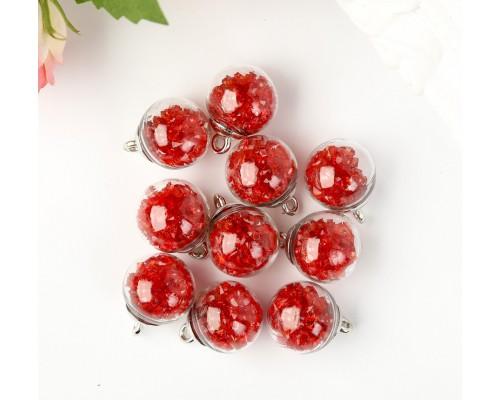 """Подвеска """"Стеклянный шар с кристаллами"""", красный, 1 шт."""