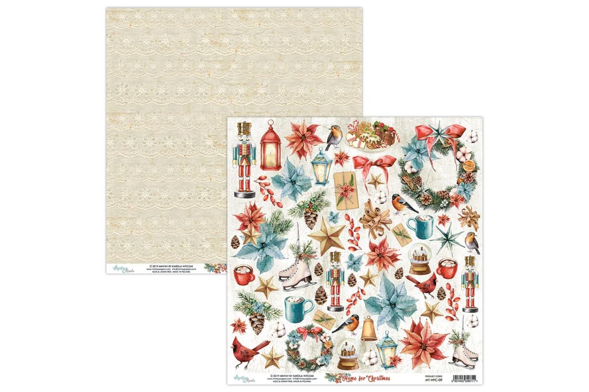 """Бумага двусторонняя коллекция """"Home For Christmas"""" 30.5 х 30.5 см., Mintay paper"""