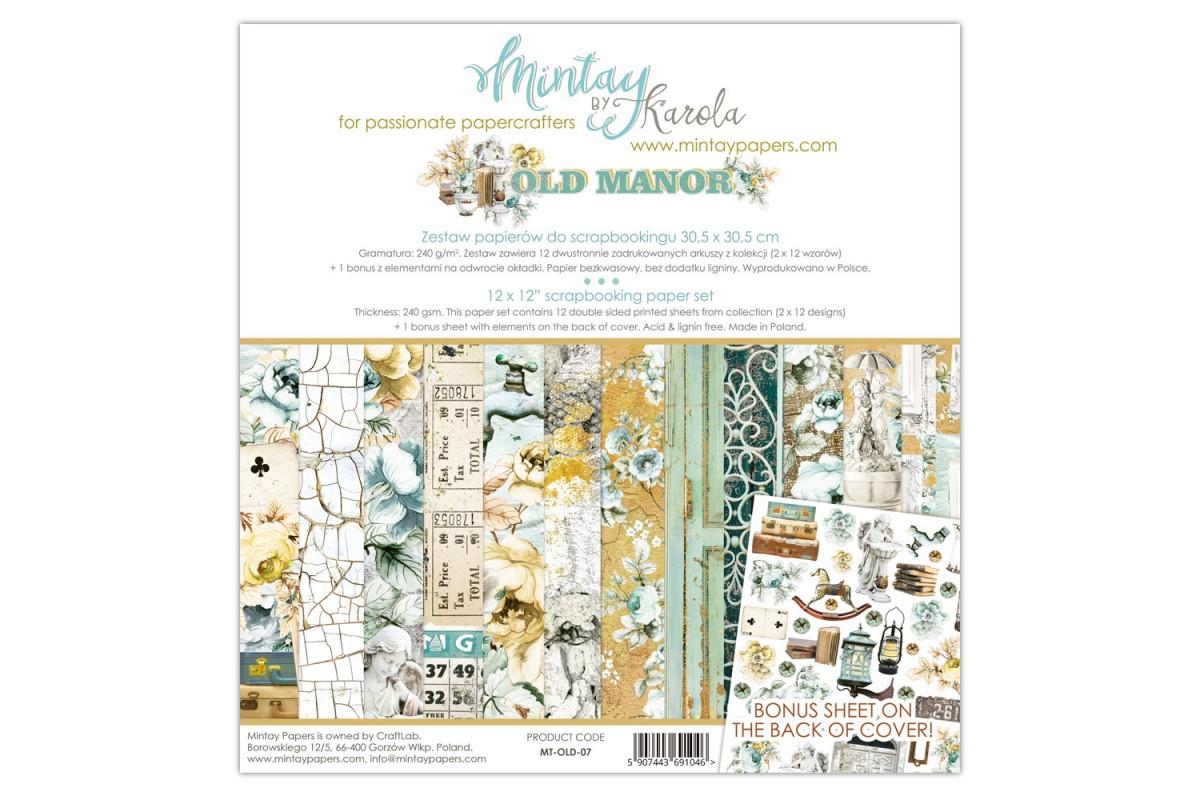 "Набор бумаги ""Old Manor"" 30.5 х 30.5 см 6 листов, 1/2 полного набора, Mintay paper"