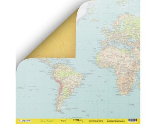 """Бумага двусторонняя коллекция """"Let's Travel"""" Карта ScrapМир"""