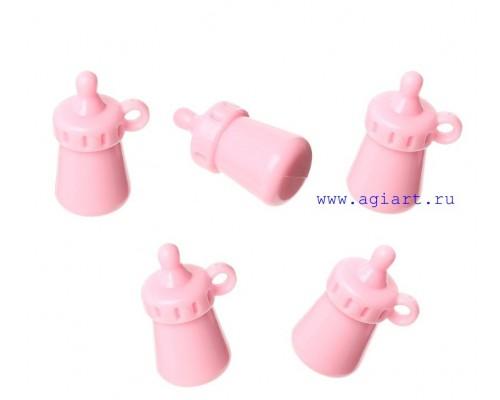 Бутылочка-соска розовая, пластик 1 шт