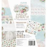 """Набор бумаги """"Дыхание весны"""" 30,5х30,5, 12 двусторонних листов, FLEUR-design"""