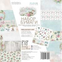 """Набор бумаги """"Дыхание весны"""" 20х20см, 12 двусторонних листов, FLEUR-design"""