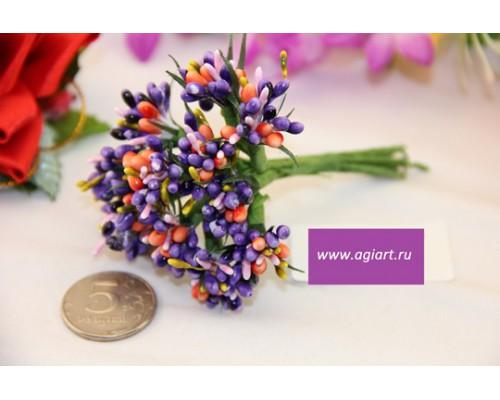 """Декоративный букетик """"фиолетовый с оранжевым"""", 12 веточек"""