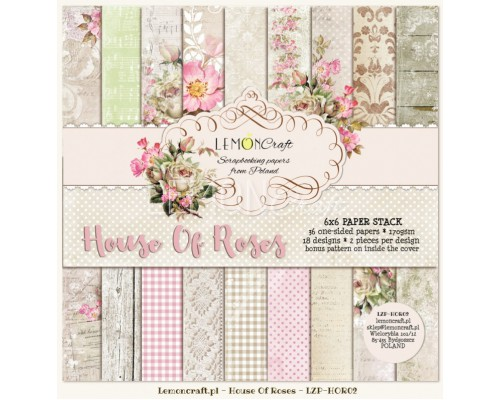 "Набор бумаги ""House of Roses NEW"" 15*15 см - 18 листов (1/2 набора) Lemoncraft"