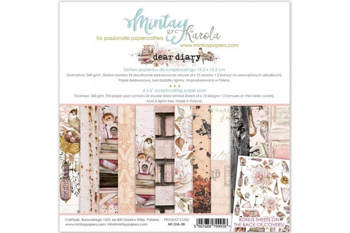 """Набор бумаги """"Dear Diary"""" 15,2 х 15,2 см, 24 листа, Mintay paper"""