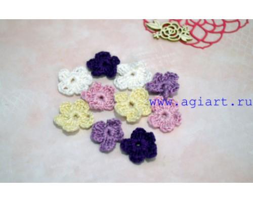Вязаный набор маленьких цветочков «Фиолетовое ассорти» Scrap Knit