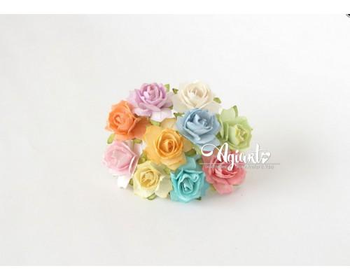 Кудрявые розы 2 см - микс пастель, 10 шт