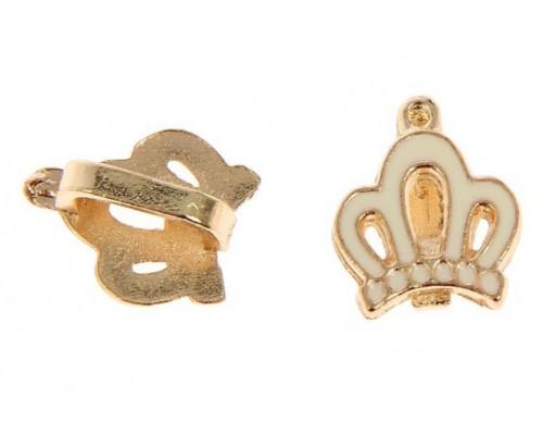 """Металлическое украшение """"Корона"""" золото+белый, 1 шт"""