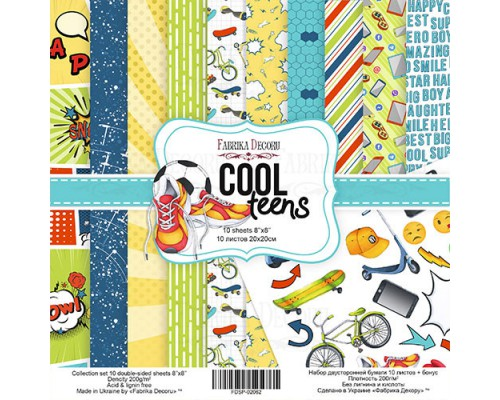 """Набор бумаги """"Cool Teens"""", 20*20 см., Фабрика Декора"""