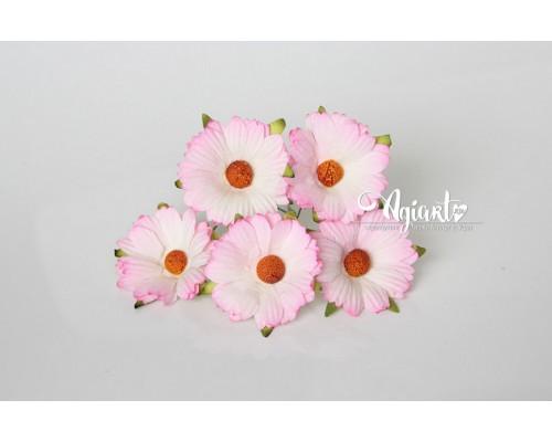 """Ромашки """"Розовый+белый"""" махровые 4 см, 5 шт"""