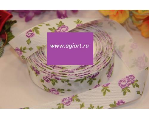"""Лента репсовая """"фиолетовые розы на белом"""" 1 метр"""
