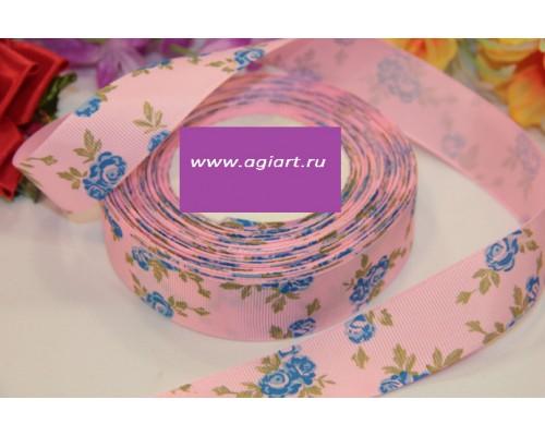 """Лента репсовая """"синие розы на розовом"""" 1 метр"""