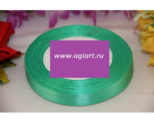 """Лента атласная """"зеленый"""" 12 mm, 23 метра (рулон)"""