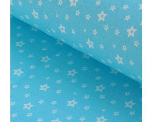 "Ткань хлопок ""Белые звезды на голубом"", 48х50см"