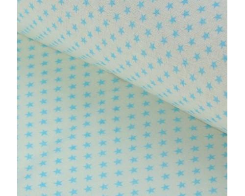 """Ткань хлопок """"Голубые звезды на белом"""", 48х50см"""