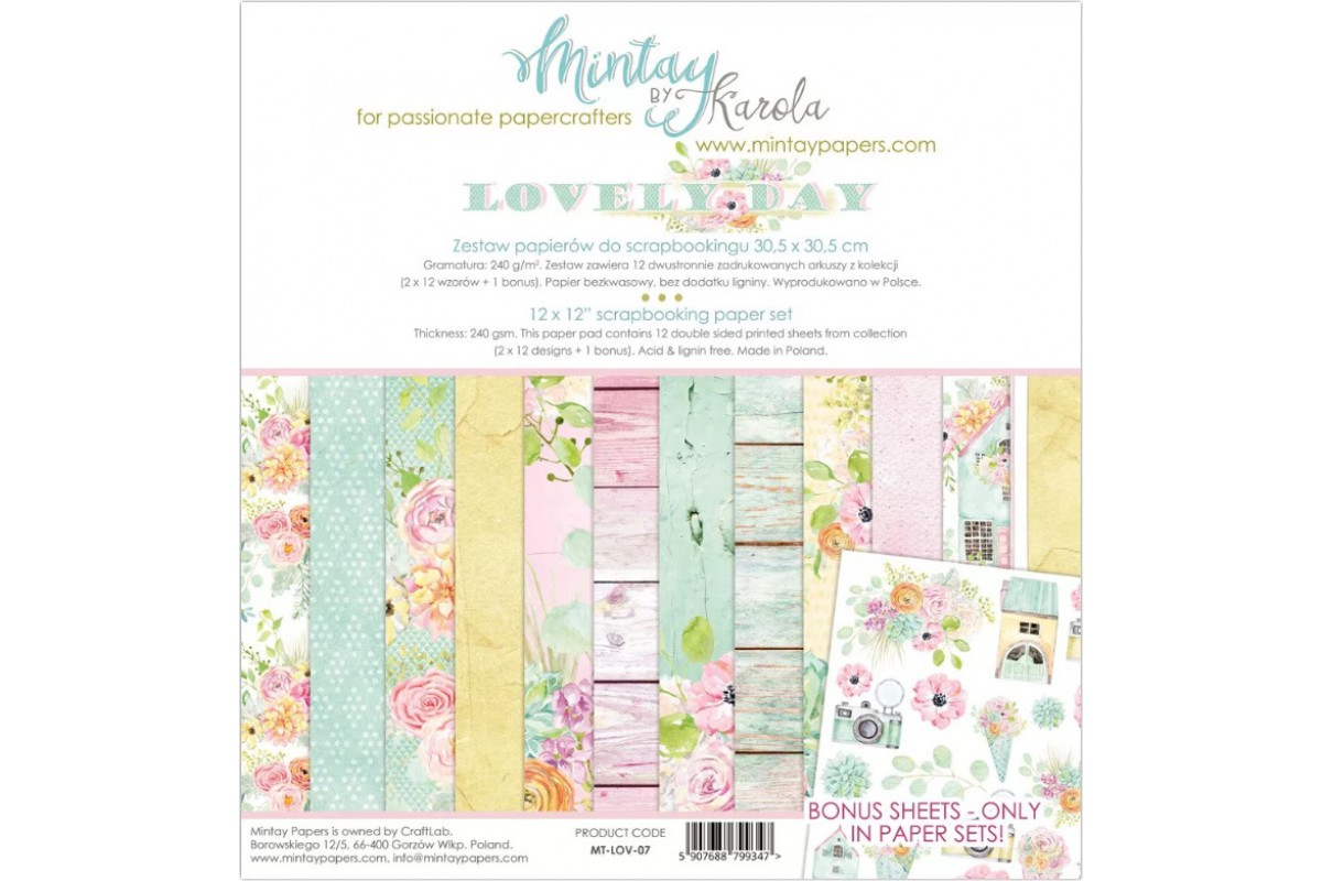 """Набор бумаги """"Lovely day"""" 30.5 х 30.5 см 6 листов 1/2 полного набора Mintay paper"""