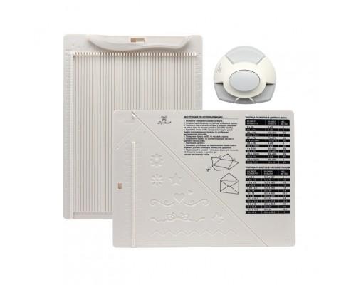 Доска для создания конвертов и открыток (биговки) в комплекте с дыроколом угла, Рукоделие 21,5x16,2 см