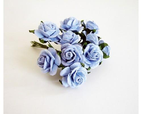 Розы голубые 1,5 см, 10 шт.