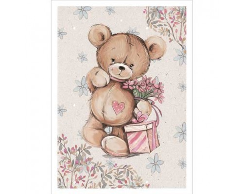 """Тканевая карточка """"Медвежата. Подарочек"""", ScrapMania"""