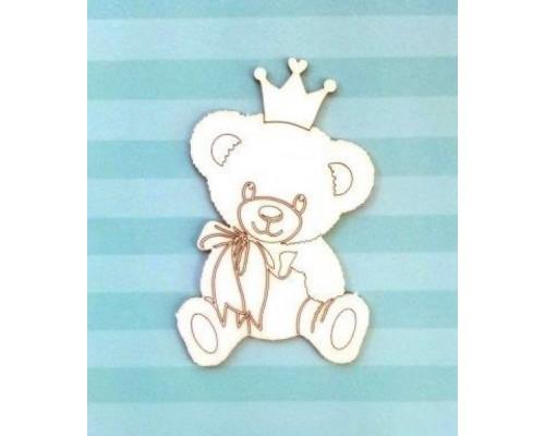 Чипборд Мишка с короной. Лазер