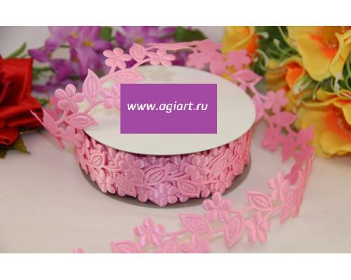 """Лента декоративная """"розовые цветы"""" 1 метр"""