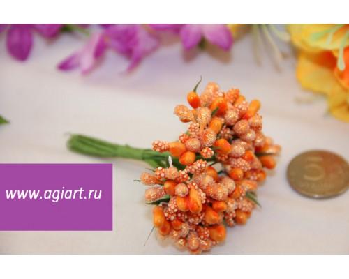 """Декоративный букетик """"оранжевый"""", 12 веточек"""