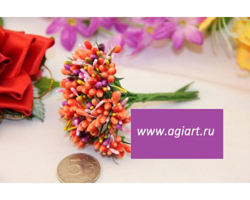 """Декоративный букетик """"оранжевый с ассорти"""", 12 веточек"""