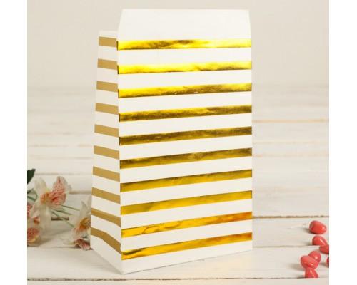 """Бумажный пакет """"Золотая полоска"""", 20*13 см, 1 шт"""