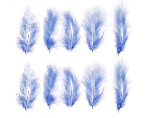 Набор перьев для декора 10 шт, размер 1 шт 10*2 цвет голубой, АртУзор