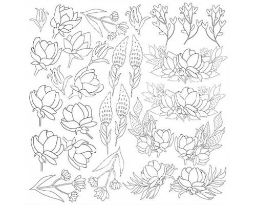 """Лист для для раскрашивания аква чернилами """"Spring blossom"""", 30,5x30,5см Фабрика Декору"""