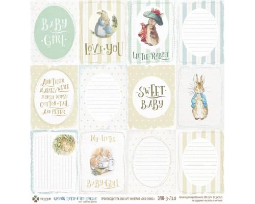 """Бумага односторонняя коллекции """"Кролик Питер и его друзья"""" карточки девочка ECO-LUXURY"""