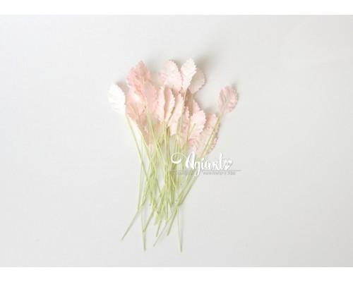 Листья маленькие Розовоперсиковые светлые, 2,2*1,3 см., 10шт.