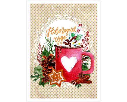 """Тканевая карточка """"Чудесная зима. Новогоднее чудо"""", ScrapMania"""