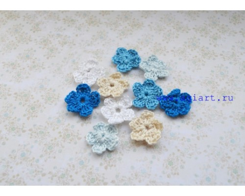 Вязаный набор маленьких цветочков «Синее ассорти» Scrap Knit