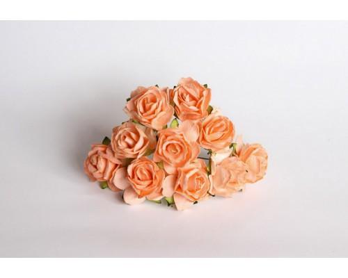 Кудрявые розы 3 см -Св. оранжевый , 5 шт