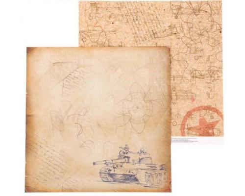 Бумага двусторонняя серии «Military. Дембельский альбом» 30.5 х 30.5 см Артузор