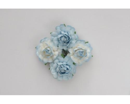 """Набор крупных роз 3,5см -""""Голубые и сине-белые"""" 4 шт"""