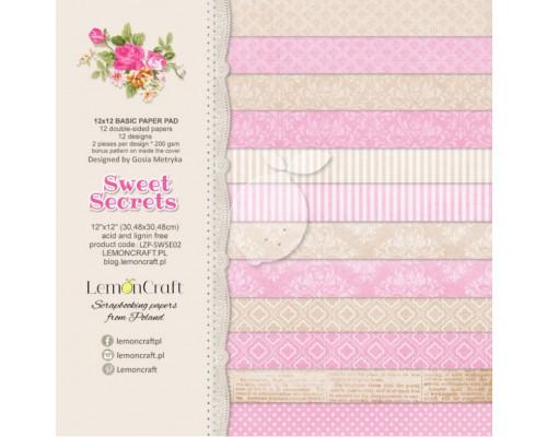 "Набор бумаги ""BASIC Sweet Secrets"" 30*30 см - 6 листов (1/2 набора) Lemoncraft"