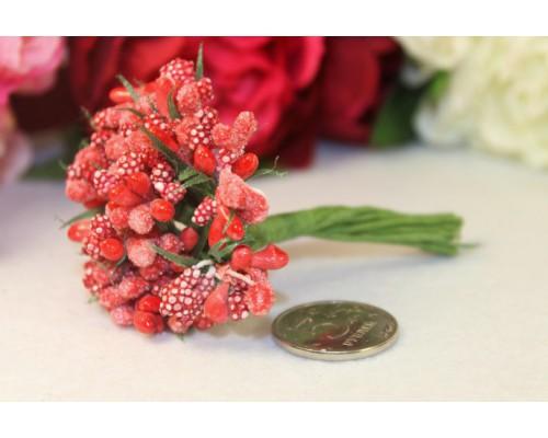 """Декоративный букетик """"Красный с сахарными ягодками"""", 12 веточек"""