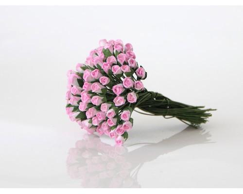 Бутоны роз мини Розовый + белый, 10 шт