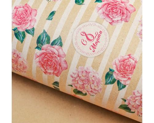 """Бумага упаковочная крафт """"Цветы"""", 50 х 70 см, 1 лист"""
