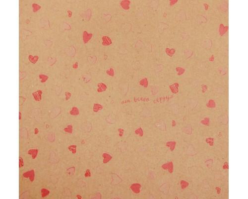 """Бумага упаковочная крафт """"Воздушные сердечки"""", 50 х 70 см, 1 лист"""