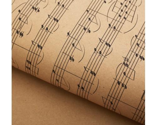 """Бумага упаковочная крафт """"Ноты"""", 50 х 70 см, 1 лист"""