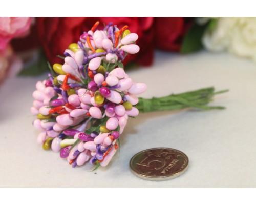 """Декоративный букетик """"Розовый+фиолетовый"""", 12 веточек"""