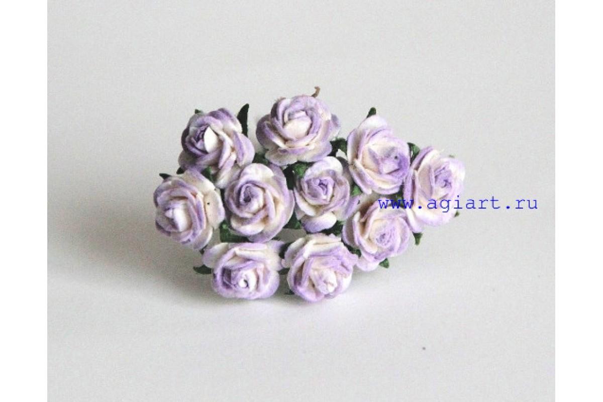 Розы бело-сиреневые 1 см 10 шт.