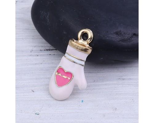 """Подвеска эмалевая """"Варежка с сердечком"""" розовая 1шт."""