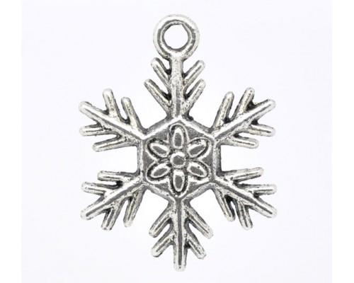 """Подвеска металлическая """"Снежинка большая"""" серебро 1шт."""